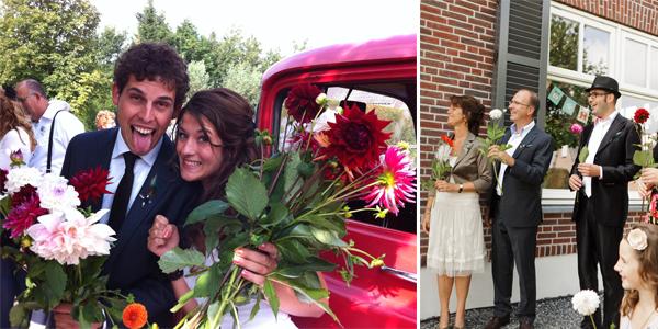 Bloemen bij ontvangst