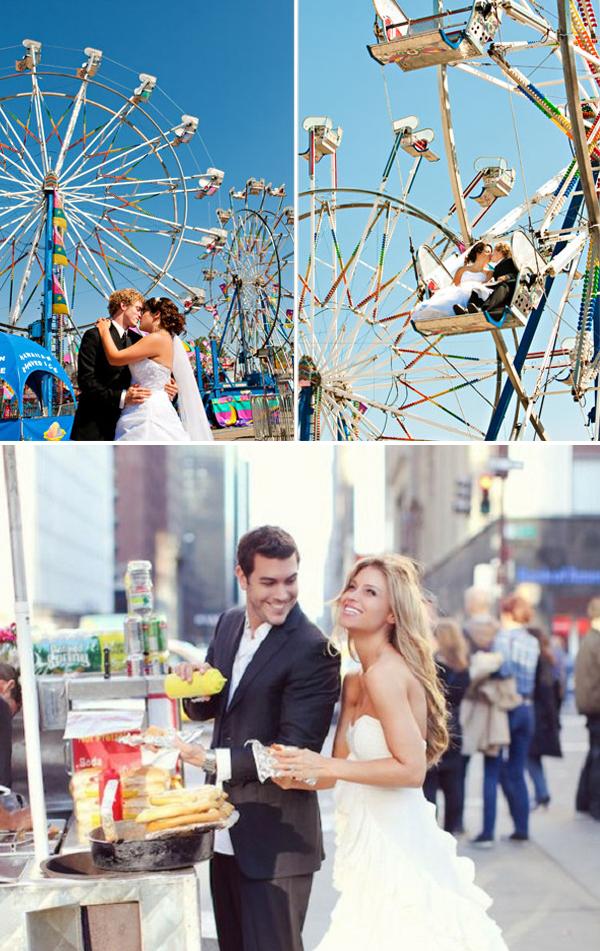 Fotoshoot bruiloft op gekke plekken