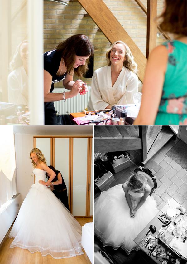 Opmaken en aankleden bruid