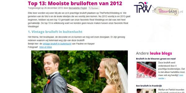 top 13 mooiste bruiloften van 2012