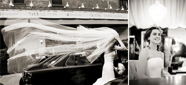 bruid sluier en trouwauto