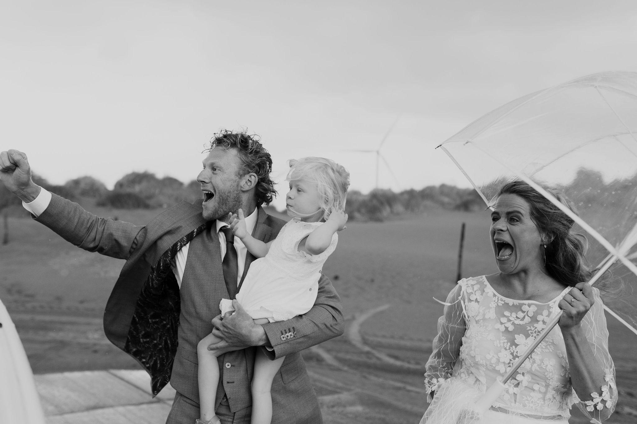 Wind en regen op je bruiloft